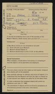 Entry card for Baron, J. Peter for the 1983 May Show.