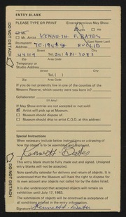 Entry card for Bates, Kenneth F. for the 1983 May Show.