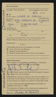 Entry card for Cahill, Linda B. for the 1983 May Show.