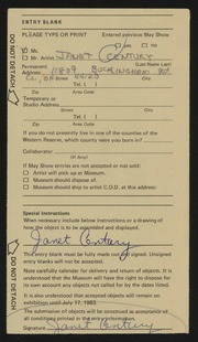 Entry card for Century, Janet for the 1983 May Show.