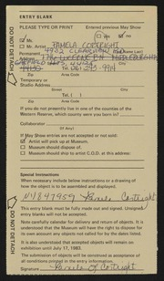Entry card for Cortright, Pamela Lynn for the 1983 May Show.