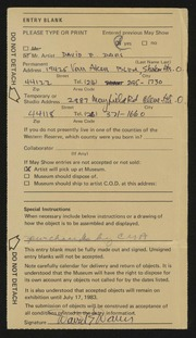 Entry card for Davis, David E. for the 1983 May Show.