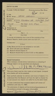 Entry card for Drahos, Dean Franklin for the 1983 May Show.