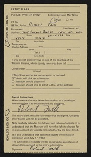 Entry card for Falk, Robert Irwin for the 1983 May Show.