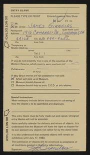 Entry card for Gianelos, James for the 1983 May Show.