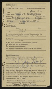 Entry card for Golya, Thomas Joseph for the 1983 May Show.