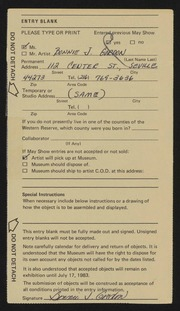 Entry card for Gordon, Bonnie J. for the 1983 May Show.