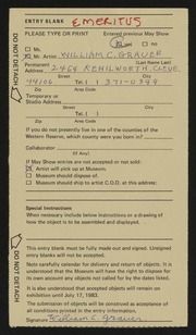 Entry card for Grauer, William C. for the 1983 May Show.