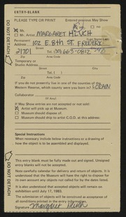 Entry card for Hluch, Margaret for the 1983 May Show.