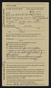 Entry card for Humphrey, Guy for the 1983 May Show.