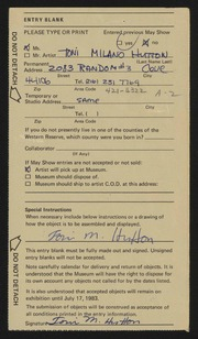 Entry card for Hutton, Toni Milano for the 1983 May Show.