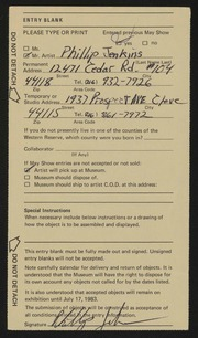 Entry card for Jenkins, Phillip for the 1983 May Show.