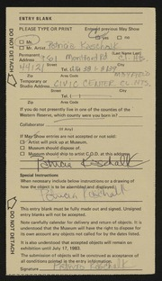 Entry card for Kaschalk, Patricia for the 1983 May Show.