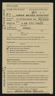 Entry card for Kiousis, Linda Weber for the 1983 May Show.