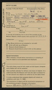 Entry card for Klausner, Lisa for the 1983 May Show.