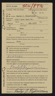 Entry card for Kizevicius, Kesty J. for the 1983 May Show.
