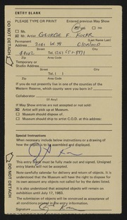 Entry card for Kocar, George Frederick for the 1983 May Show.