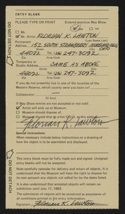 Entry card for Lawton, Florian K. for the 1983 May Show.