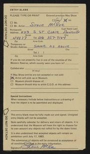 Entry card for McKee, Steve for the 1983 May Show.