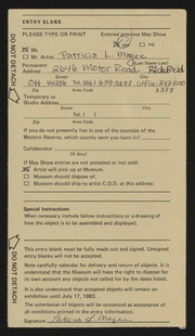 Entry card for Magee, Patricia L. for the 1983 May Show.