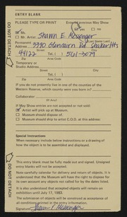 Entry card for Messenger, Shawn E. for the 1983 May Show.