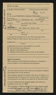 Entry card for Mitchell, Beatrice Louise for the 1983 May Show.
