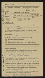 Entry card for Moore, Gregory Todd for the 1983 May Show.