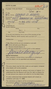 Entry card for Moyers, Donald D. for the 1983 May Show.