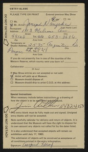 Entry card for Naujokas, Joseph P. for the 1983 May Show.