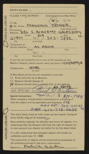 Entry card for Ortner, Frederick for the 1983 May Show.