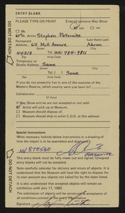 Entry card for Paternite, Stephen for the 1983 May Show.