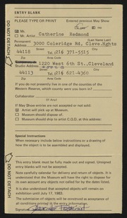 Entry card for Redmond, Catherine for the 1983 May Show.