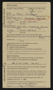 Entry card for Schlappal, Gary Allen for the 1983 May Show.
