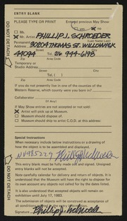 Entry card for Schroeder, Phillip J. for the 1983 May Show.