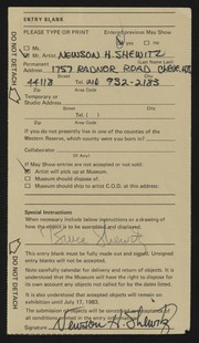 Entry card for Shewitz, Newson H. for the 1983 May Show.