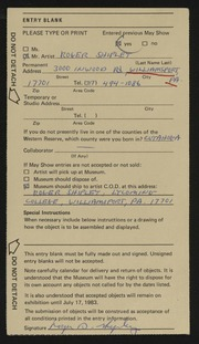 Entry card for Shipley, Roger D. for the 1983 May Show.