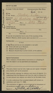 Entry card for Slodov, Luba for the 1983 May Show.
