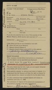 Entry card for Tacha, Athena for the 1983 May Show.