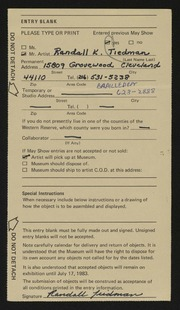 Entry card for Tiedman, Randall for the 1983 May Show.