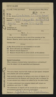 Entry card for Troibner, Gretchen for the 1983 May Show.