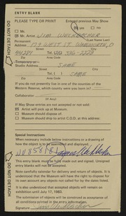 Entry card for Weckbacher, Jim for the 1983 May Show.