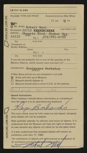 Entry card for West, Robert for the 1983 May Show.