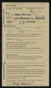 Entry card for Widmar, Marge for the 1983 May Show.