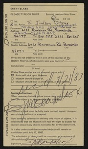 Entry card for Wilcox, S. Judson for the 1983 May Show.
