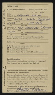 Entry card for Wilson, Christine for the 1983 May Show.