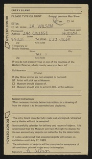 Entry card for Wilson, La for the 1983 May Show.