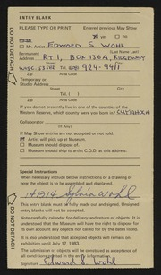 Entry card for Wohl, Edward S. for the 1983 May Show.