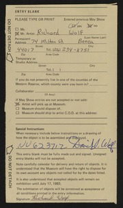 Entry card for Wolf, Richard for the 1983 May Show.