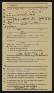 Entry card for Troel, Gerald for the 1983 May Show.