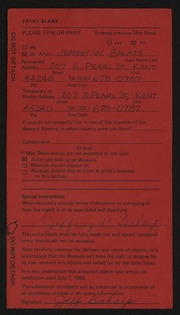 Entry card for Balazs, Jeffrey W. for the 1984 May Show.